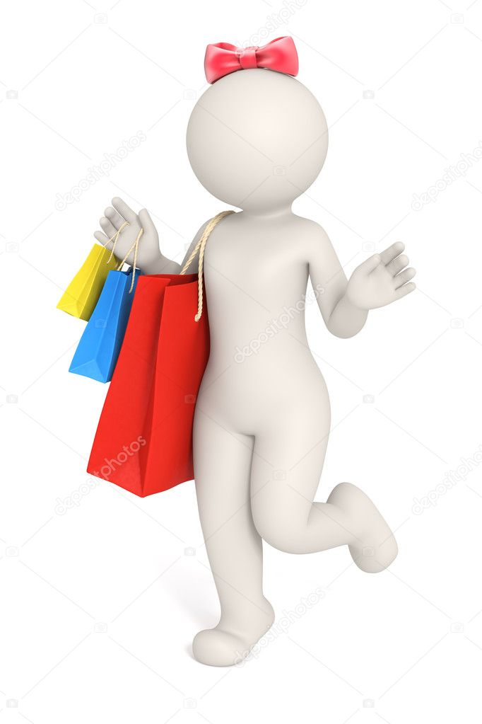 3d rendered happy girl with shopping bags in her hands and a red bow on her head - Isolated — Lizenzfreies Foto #11803558