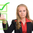 Business woman - virtual green check mark — Stock Photo