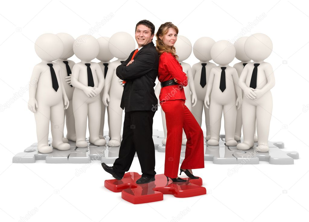Successful business leader woman and man standing on a red puzzle in front of his 3d rendered team — Stock Photo #12197484