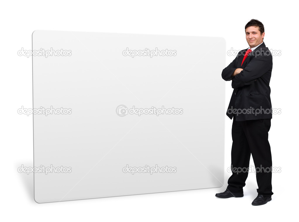 Young confident business man presenting a white empty board with copyspace — Stock Photo #12197487