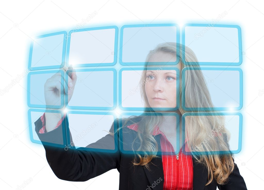 Young business woman pointing to a blue virtual screen with empty boxes — Stock Photo #12197494