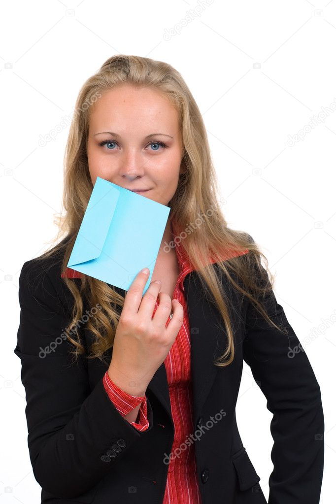 Young business woman holding a blue envelope letter in her hand — Stock Photo #12197496