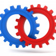 Red and blue gears icon — Stock Photo