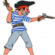 Stock Vector: Pirate with two pistols