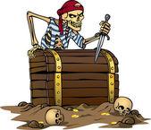 Skeleton pirate — Stock Vector