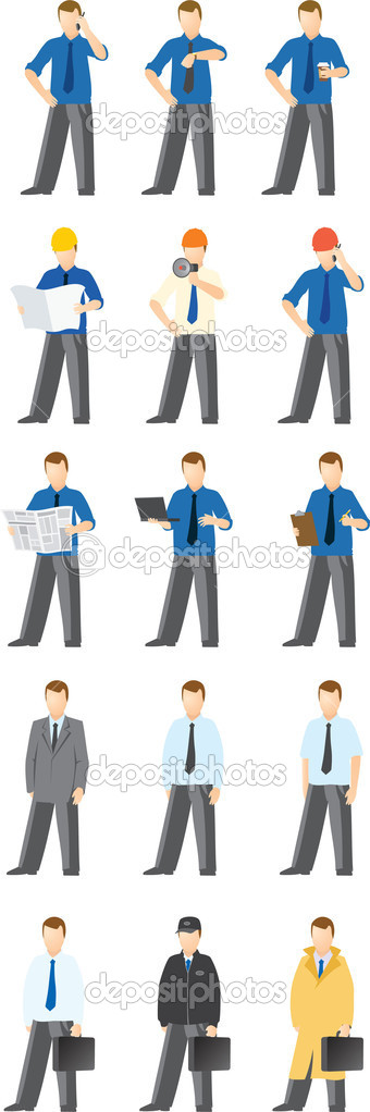 Vector clip art of various dressed business men  Stock Vector #10956104