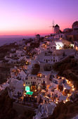 Sunset over santorini — Stock Photo
