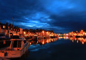 Harbour at twilight — Stock Photo