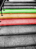Traffic light on the stairs — Stock Photo