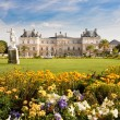 Luxembourg Palace with flowers - Stock Photo