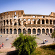 Colosseum in Rome Italy on hot summer day - Stock Photo