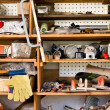 Shelves with various tools, do it yourself — Стоковая фотография