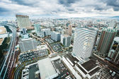 Fukuoka city skyscrapers seen from high above — Stock Photo