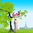 Stock Vector: Girl and boy on a date under the tree