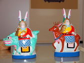 Beijing flavour traditional handicraft--clay rabbit for the Chinese Festival — Stock Photo