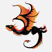 Black-orange dragon — Stock Vector