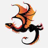 Black-orange dragon — Stock Vector