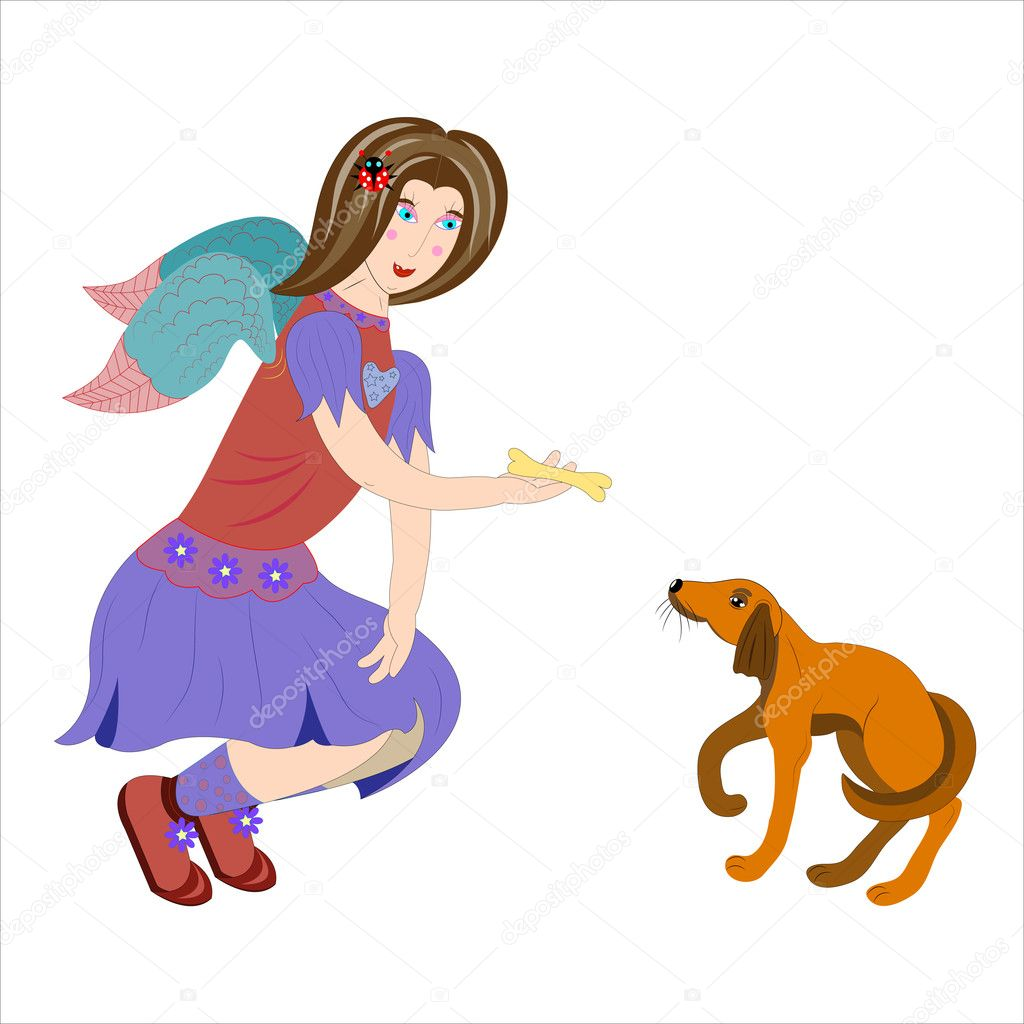 Angel feeds a puppy. Vector. — Stock Vector #11040407