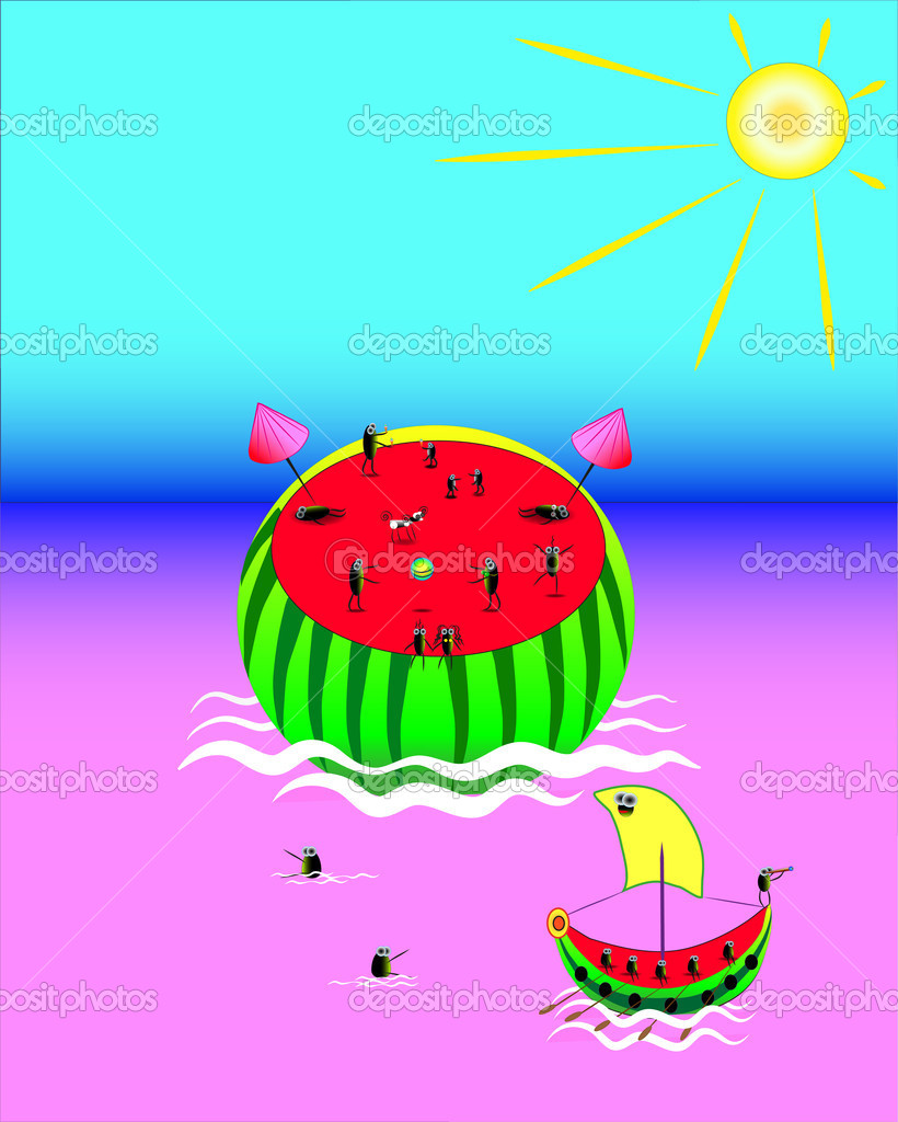 Water-melon.Rest on a nature.  Stock Vector #11042601