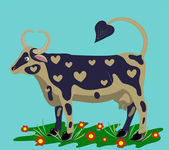 Cow on a lawn. — Stock Vector