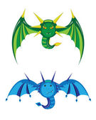 Dragons smilies green and blue. — Stock Vector