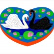 Enamoured swans. — Stock Vector