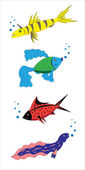 Fantastic small fishes. — ストックベクタ