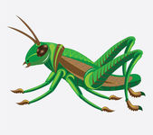 Green-brown grasshopper. — Stock Vector