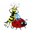 Stock Vector: Bee listens to music.