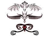 Tattoos of fantastic dragons. — Stock Vector