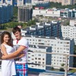 Love story. On roof of house — Stock Photo #11545351