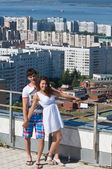 Love story. On the roof of the house — Stock Photo