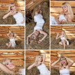 Girl on the hayloft collage — Stock Photo