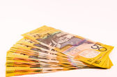 Australia bills isolated in white — Stock Photo