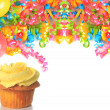 Birthday cupcake with balloons and ribbons. — Stock Photo