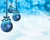 Christmas ornaments snow scene — Stock Photo