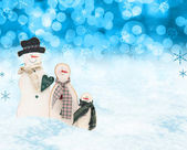 Christmas snow men scene — Stockfoto