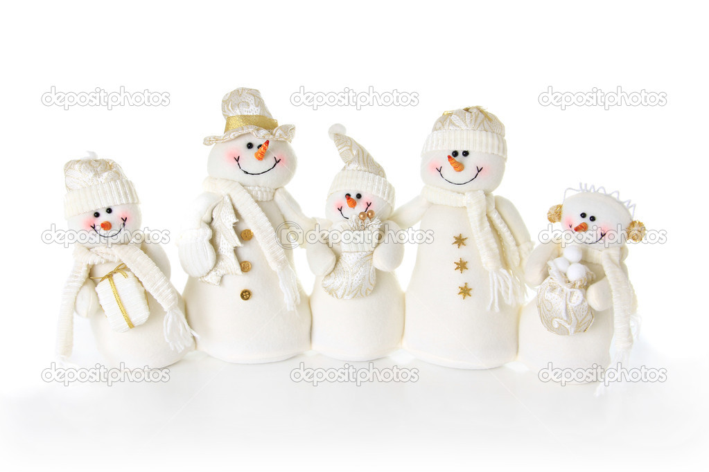 Christmas Snow man family on white. — Stock Photo #11000187