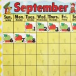 September school calender - Stock Photo