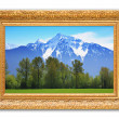 Rocky mountains painting. - Stock Photo