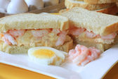 Egg and shrimp salad sandwich — Stock Photo