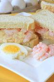 Egg and shrimp salad sandwich — Stock Photo