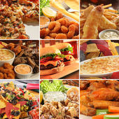 Collage of pub food. — 图库照片