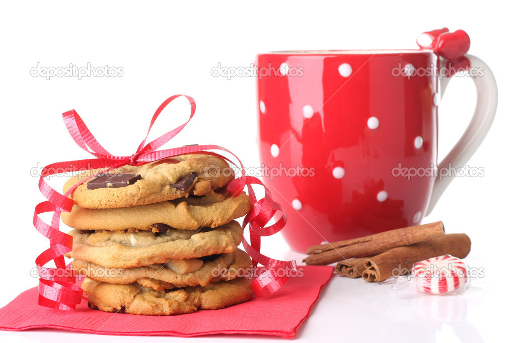Christmas cookies with a mug of cinnamon hot chocolate. — Stock Photo #11106042
