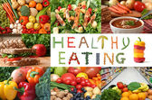 Healthy eating collage — Stock Photo