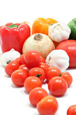 Fresh vegetables, peppers, tomatoes, garlic and onions. — Stock Photo