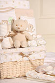 Baby gift basket — Stock Photo