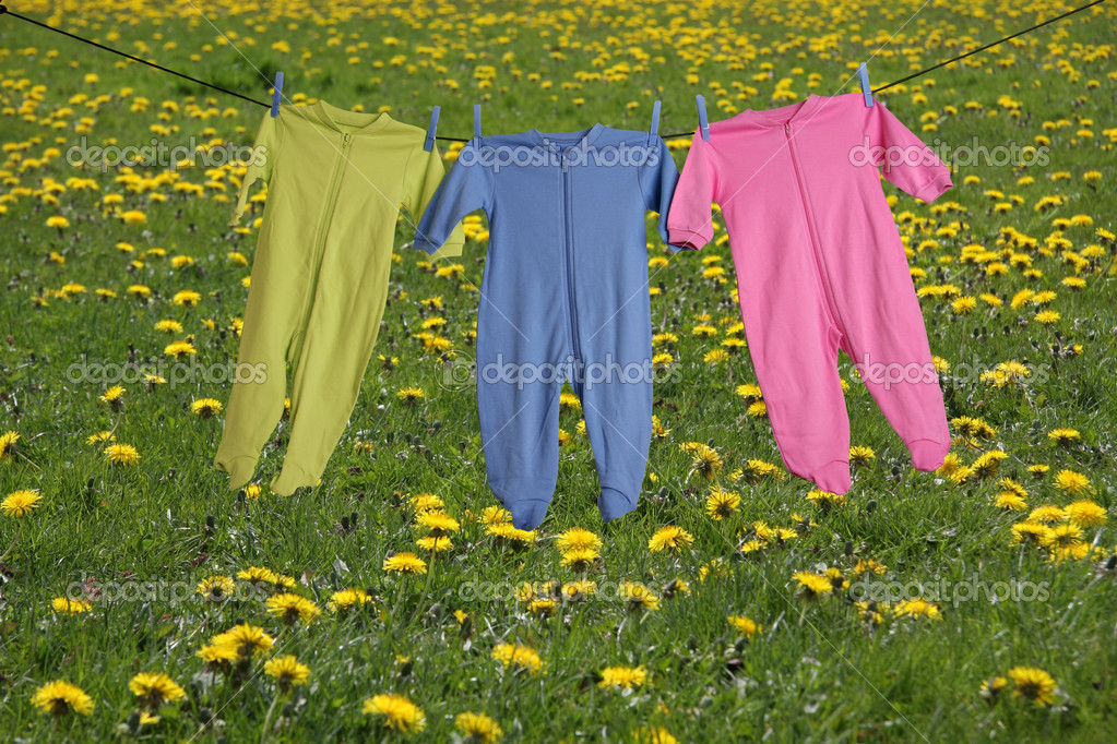 Baby sleepers on the clothesline.  Stock Photo #11284832