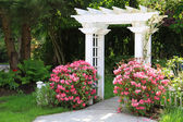 Garden arbor and pink flowers. — Stock Photo