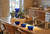 Brand new small kitchen, beautifully decorated in a show home — Stock Photo